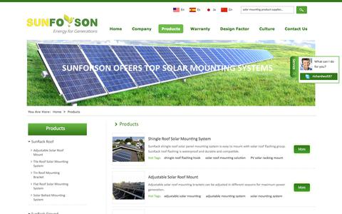 Screenshot of Products Page sunforson.com - Adjustable Solar Mounting Brackets,Metal Roof Hook,Pile Solar Mounting Systems - captured Nov. 10, 2017