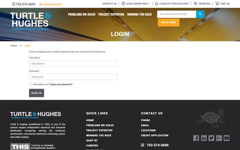 Screenshot of Login Page turtle.com - Login|Turtle & Hughes - captured Oct. 20, 2018