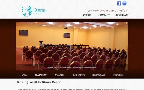 Screenshot of Home Page dianaresort.ro - Bine ați venit la Diana Resort! - Baile Herculane - Diana Resort Băile Herculane - captured Feb. 1, 2016