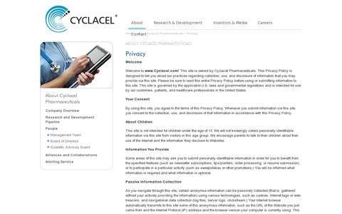 Screenshot of Privacy Page cyclacel.com - The Cyclacel Website privacy policy - captured July 20, 2014