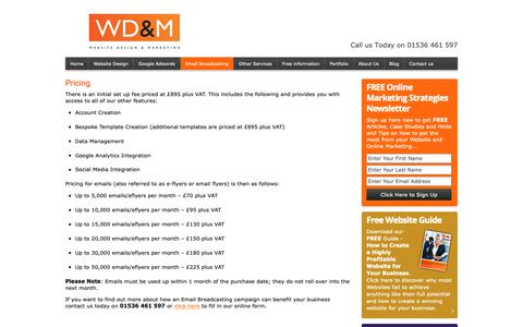 Screenshot of Pricing Page websitedesignmarketing.com - E-flyers, Eflyers, Email Flyers | WD&M - captured Oct. 22, 2018