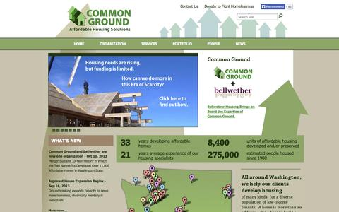 Screenshot of Home Page commongroundwa.org - Common Ground — Affordable Housing Development - captured Oct. 2, 2014