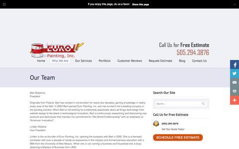 Screenshot of Team Page europaintinginc.com - Our Team • Euro Painting, Inc. Albuquerque, NM. - captured Oct. 28, 2014