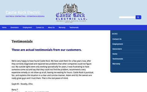 Screenshot of Testimonials Page castlerockelectric.com - Testimonials - Castle Rock Electric - captured Sept. 27, 2018
