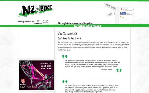Screenshot of Testimonials Page nzbybike.com - Testimonials - captured Jan. 11, 2016
