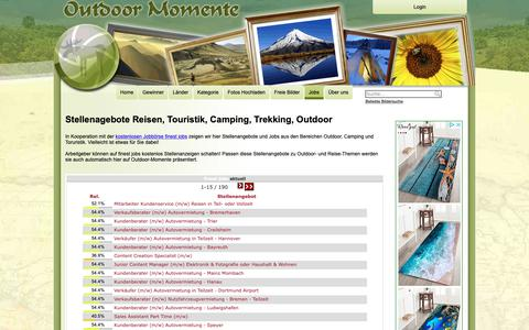 Screenshot of Jobs Page outdoor-momente.com - Jobs rund um Outdoor, Camping, Reise und Touristik - captured Oct. 1, 2018
