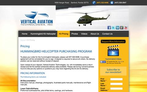 Screenshot of Pricing Page vertical-aviation.com - kit pricing - captured May 24, 2016