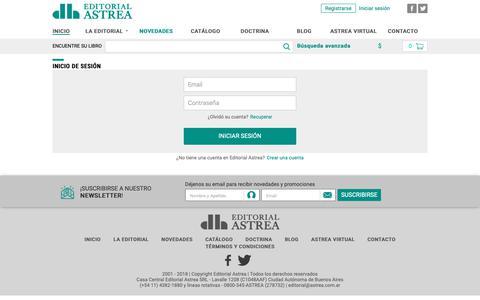 Screenshot of Login Page astrea.com.ar - Editorial Astrea - captured Dec. 1, 2018
