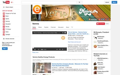 Screenshot of YouTube Page youtube.com - Vemma  - YouTube - captured Oct. 23, 2014
