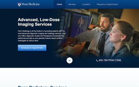 Screenshot of Contact Page pennmedicine.org - Penn Radiology | Penn Medicine - captured April 25, 2016