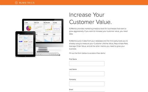 Screenshot of Landing Page rjmetrics.com - Increase Your Customer Lifetime Value - captured Oct. 27, 2014