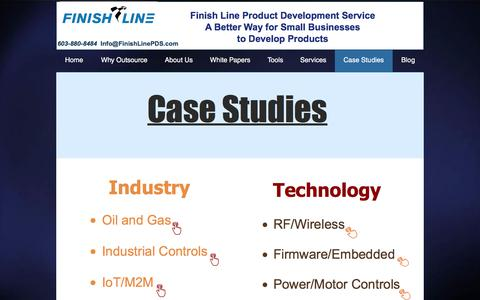 Screenshot of Case Studies Page finishlinepds.com - successful case studies for product development projects - captured Aug. 13, 2018