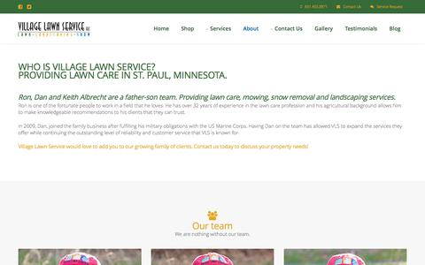 Screenshot of About Page villagelawnservice.biz - Village Lawn Service in St. Paul, MN - Including Lawn Care, Landscaping, Mowing, & Snow Removal - captured June 13, 2017