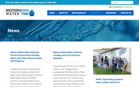 Screenshot of Press Page wbwa.org - News Archives - Western Berks Water - captured Nov. 29, 2016
