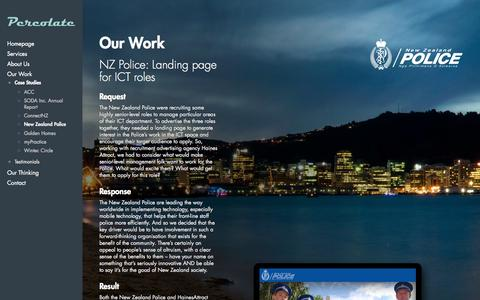 Screenshot of Case Studies Page percolate.co.nz - New Zealand Police | Percolate - captured Oct. 2, 2014