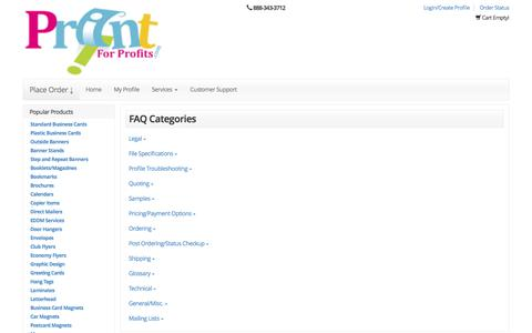 Screenshot of FAQ Page printforprofits.com - business cards | full color printing | digital printing company | flyers  |marketing materials | Printforprofits - captured Nov. 12, 2016