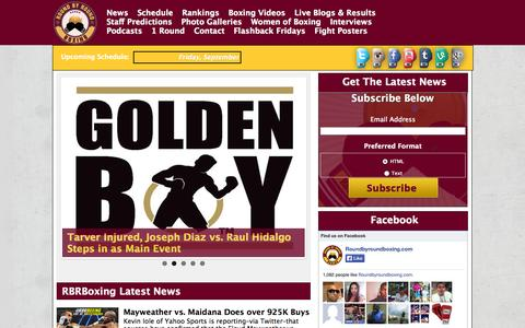 Screenshot of Home Page roundbyroundboxing.com - Round By Round Boxing provides quality news, updates and reports on boxing worldwide. - captured Sept. 19, 2014