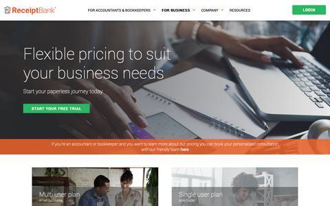 Screenshot of Pricing Page receipt-bank.com - Pricing - Receipt Bank - captured Dec. 1, 2018