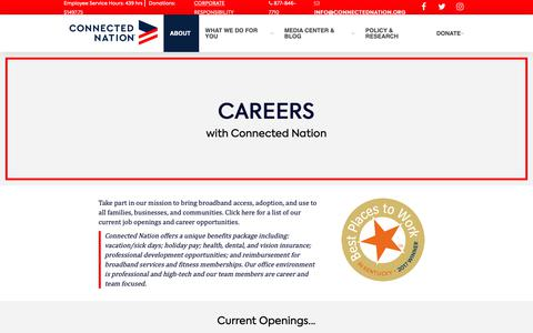 Screenshot of Jobs Page connectednation.org - Careers - captured Sept. 29, 2018
