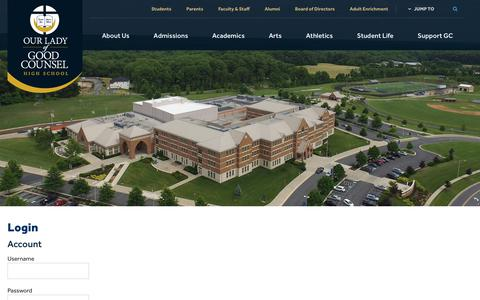 Screenshot of Login Page olgchs.org - Login - Our Lady of Good Counsel High School - Olney, MD - captured Oct. 21, 2017