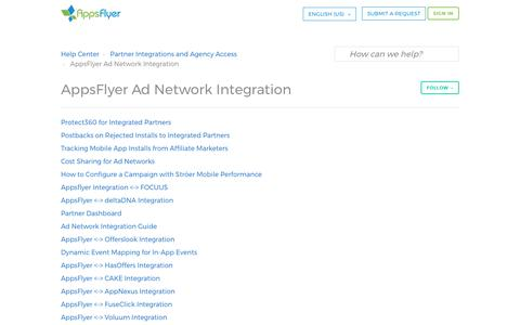AppsFlyer Ad Network Integration – Help Center