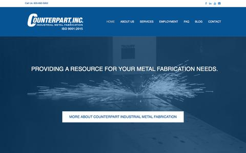 Screenshot of Home Page counterpartfab.com - Metal Fabrication - Counterpart, Inc. - Industrial Metal Fabrication - captured Sept. 4, 2017