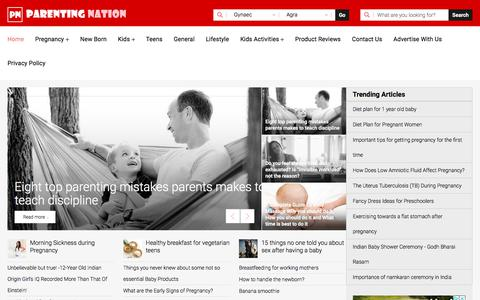Screenshot of Home Page parentingnation.in - Parenting Tips, Pregnancy Care, Parenting Advice - Parenting Nation India - captured Feb. 23, 2020