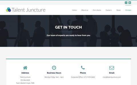 Screenshot of Contact Page talentjuncture.com - Contact Us – Talent Juncture - captured Aug. 16, 2016