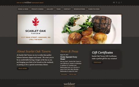 Screenshot of Home Page scarletoaktavern.com - Scarlet Oak Tavern - captured Sept. 30, 2014