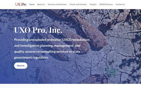Screenshot of Home Page uxopro.com - UXO Pro - UXO Pro - captured Dec. 20, 2018