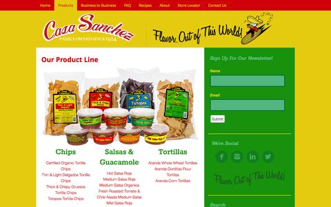 Screenshot of Products Page casasanchezsf.com - Our Chips and Salsa Product Line - Natural Ingridents, FDA Organic - captured Sept. 30, 2014