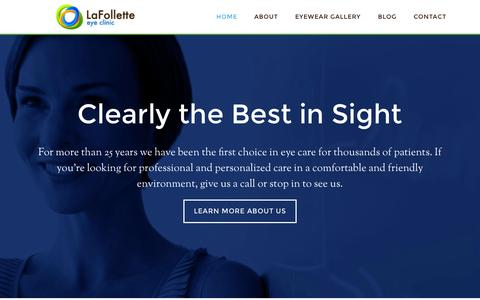 Screenshot of Home Page lafolletteeyeclinic.com - Lafollette Eye Clinic – Clearly the Best in Sight - captured July 17, 2015