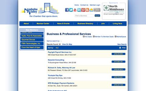 Screenshot of Services Page nvcoc.com - Business & Professional Services - Nashoba Valley Chamber of Commerce (Massachusetts) - captured Oct. 7, 2014