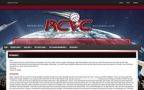 Screenshot of Testimonials Page rcvc.net - Rocket City VBC - Rocket City Volleyball Club - captured April 7, 2017