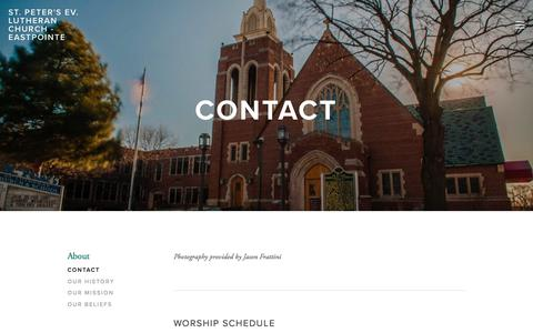 Screenshot of About Page stpeterslutheranchurch.net - Contact — St. Peter's Ev. Lutheran Church - Eastpointe - captured July 3, 2018