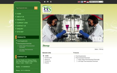 Screenshot of Site Map Page maaspharmachemicals.com - Site Map - Maas Pharma Chemicals - captured July 22, 2016