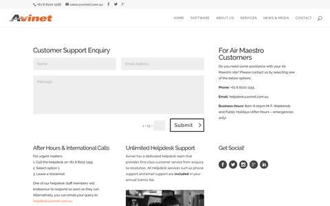 Screenshot of Support Page avinet.com.au - Customer Support - captured July 25, 2016