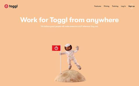 Screenshot of Jobs Page toggl.com - Toggl - Jobs - captured April 9, 2018