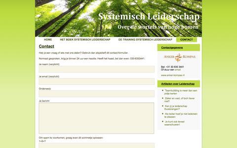 Screenshot of Contact Page systemischleiderschap.com - Contact - captured Sept. 21, 2018