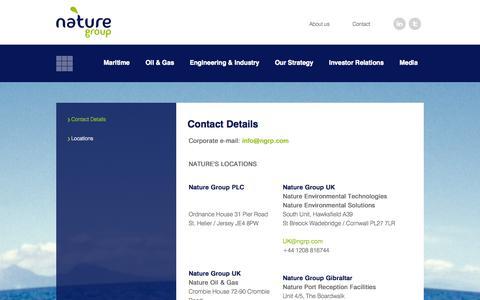 Screenshot of Contact Page ngrp.com - NATURE group - captured Oct. 27, 2014