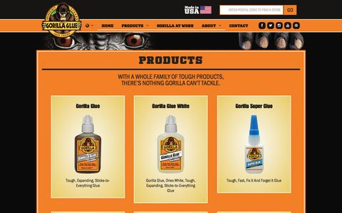 Screenshot of Products Page gorillatough.com - Products | Gorilla Glue - captured Sept. 23, 2014