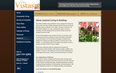 Screenshot of About Page vistasalf.com - About Assisted Living in Redding | The Vistas Assisted Living and Memory Care - captured March 30, 2016