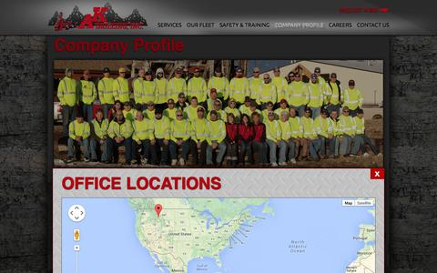 Screenshot of Maps & Directions Page akdrilling.com - Office Locations / Areas Served - captured Oct. 4, 2014
