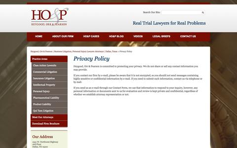 Screenshot of Privacy Page hop-law.com - Privacy Policy | Heygood, Orr & Pearson - captured Sept. 18, 2014