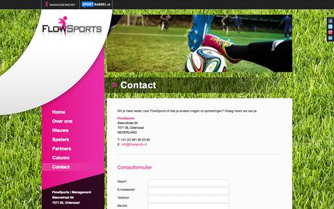 Screenshot of Contact Page flowsports.nl - Contact | FlowSports - captured Oct. 6, 2014