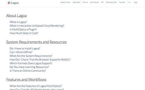 Screenshot of FAQ Page lagoa.com - FAQ   Lagoa Support - captured Sept. 13, 2014