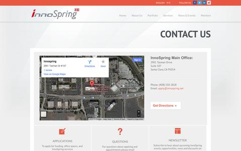 Screenshot of Contact Page innospring.net - Contact Us - captured Oct. 6, 2014