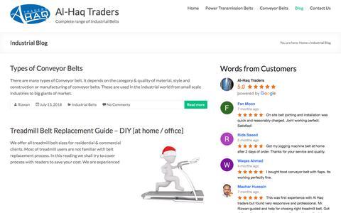 Screenshot of Blog alhaqtraders.com - Industrial Belts | Transmission, Food, PVC PU Conveyor Belting Blog - captured July 29, 2018