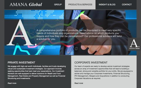 Screenshot of Products Page amanaglobal.com - Amana Global | Products & Services - captured Feb. 5, 2016