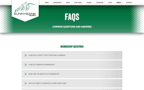 Screenshot of FAQ Page sunnybankrugby.com.au - FAQs | Sunnybank Rugby Queensland - captured Feb. 23, 2016